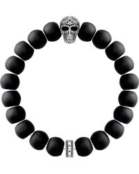 Thomas Sabo - Rebel At Heart Skull Obsidian Beaded Bracelet - Lyst