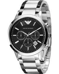 Emporio Armani - Mens Chronograph Stainless Steel Bracelet - Lyst