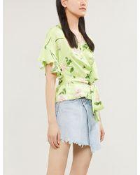 6391d2cc7529f Kitri - Alexis Flared-cuff Floral-print Satin Wrap Top - Lyst