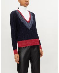 Pinko - Aerangis V-neck Metallic-knit Jumper - Lyst