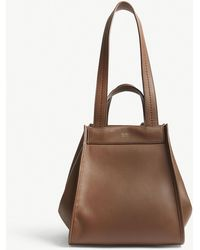 Max Mara - Ladies Brown Anit Reversible Leather And Cashmere Shoulder Bag - Lyst