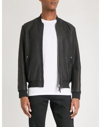 Armani - Checked Leather Bomber Jacket - Lyst