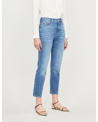 FRAME Le Sylvie Slim-fit High-rise Cropped Jeans