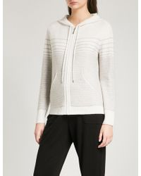 St. John - Striped Cashmere-blend Hoody - Lyst