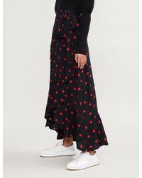 Ganni - Asymmetric Polka Dot Skirt - Lyst