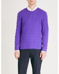 Ralph Lauren Purple Label - Cable-knit Cashmere Jumper - Lyst
