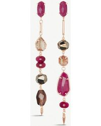 Kendra Scott - Cosette Asymmetric 14ct Rose Gold-plated Brass And Maroon Jade Drop Earrings - Lyst
