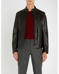 BOSS - Business Leisure Leather Jacket - Lyst