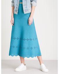 Sandro | Laser-cut Stretch-knit Midi Skirt | Lyst