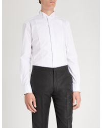 Emporio Armani - Lined-bib Cotton Shirt - Lyst