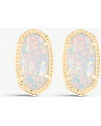 Kendra Scott - Ellie 14ct Gold-plated White Kyocera Stud Earrings - Lyst