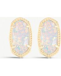 Kendra Scott - Ellie 14ct Gold-plated White Kyocera Stud Earrings - Lyst