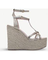 Miss Kg | Pamela Snake-embossed Metallic Wedged Sandals | Lyst