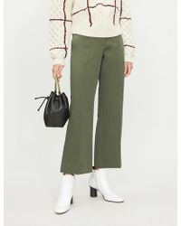 JOSEPH - Ridge High-rise Kick Flare Cotton-twill Trousers - Lyst