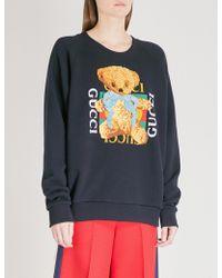 Gucci - Bear Logo-motif Cotton-jersey Sweatshirt - Lyst
