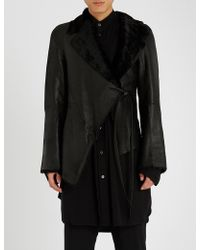 Ann Demeulemeester - Waist-tie Leather And Shearling Jacket - Lyst