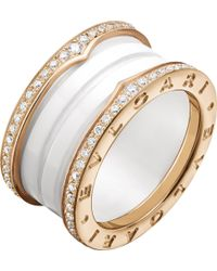 BVLGARI - B.zero1 Four-band 18kt Pink-gold White Ceramic And Diamond Ring - Lyst