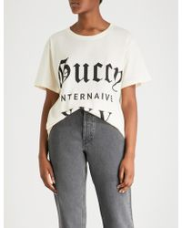 2f70141edf4 Lyst - Gucci Beige Guccy Internaive Xxv T-shirt in Natural