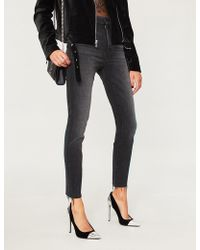 Mother - Looker Frayed-cuff High-rise Skinny Jeans - Lyst
