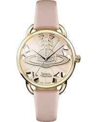Vivienne Westwood | Vv163bgpk Leadenhall Genuine Leather Strap Watch | Lyst