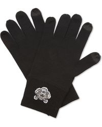 KENZO - Mens Black Tiger Motif Luxury Embroidered Wool Gloves - Lyst