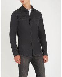Emporio Armani - Overdyed Stretch-denim Shirt - Lyst