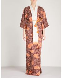 Kisshōten - Hidden Fans Silk-jacquard Kimono Robe - Lyst