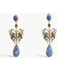 Percossi Papi - Lapis Lazuli Stone And Crystal Embellished Drop Earrings - Lyst