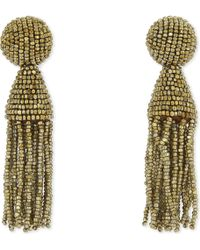 Oscar de la Renta - Classic Beaded Tassel Clip-on Earrings - Lyst