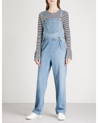 FRAME - Le Baggy Stretch-denim Dungarees - Lyst