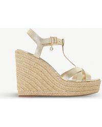 Dune - Kaylaa Metallic Leather Wedge Sandals - Lyst