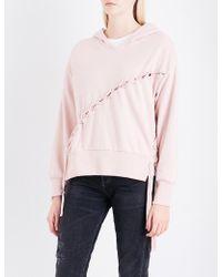 Izzue - Velvet Lace-up Jersey Hoody - Lyst