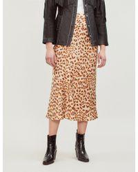Free People - Normani Leopard-print Satin Skirt - Lyst