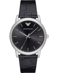 Emporio Armani - Ar2500 Stainless Steel And Leather Watch - Lyst