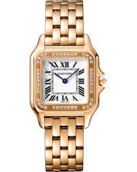 Cartier - Panthère De Medium 18ct Pink-gold And Sapphire Watch - Lyst