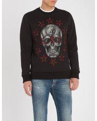 Philipp Plein - Skull-embroidered Cotton-jersey Sweatshirt - Lyst