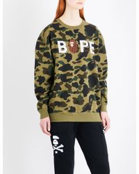 A Bathing Ape - Logo-embroidered Abc Camouflage Cotton-jersey Sweatshirt - Lyst