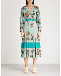 Sandro - Floral Kimono Split Sides Crepe Dress - Lyst