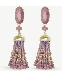 Kendra Scott - Dove 14ct Gold-plated And Pink Rhodonite Tassel Earrings - Lyst