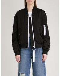 Mo&co. - Contrast-detail Padded Satin Bomber Jacket - Lyst