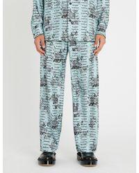 OAMC - Text-print Regular-fit Straight Silk-twill Trousers - Lyst