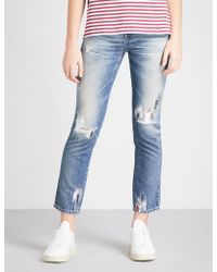 AG Jeans - Ladies Blue The Isabelle Distressed Straight High-rise Jeans - Lyst