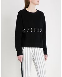 The Kooples - Eyelet-detail Ribbed-knit Cotton Jumper - Lyst