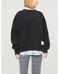 Lyst - Acne Studios Fyona Wash Label Cotton Sweatshirt in Black 9262c58af65
