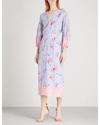Vilshenko - Evie V-neck Silk-crepe De Chine Midi Dress - Lyst