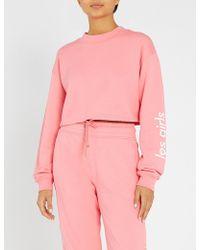 Les Girls, Les Boys - Logo-print Cropped Loopback-cotton Sweatshirt - Lyst