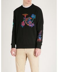 Paul Smith - Psychedelic Floral-embroidered Cotton-jersey Sweatshirt - Lyst