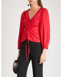 Kitri - Riley Ruched Cotton Top - Lyst