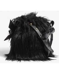 Simone Rocha - Bow Detail Faux-fur And Leather Shoulder Pouch - Lyst