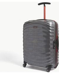 Samsonite - Eclipse Grey And Red Stripe Lite Shock Spinner Four Wheel Cabin Suitcase - Lyst